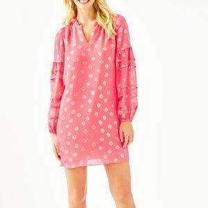Lilly Pulitzer Giana Coral Spritz Silk Dress NWT